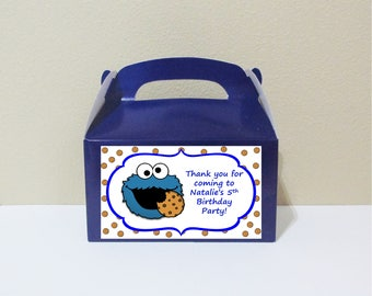 12 Personalized Cookie Monster Gable Boxes Cookie Monster Favor Boxes Cookie Monster Treat Boxes Cookie Monster Party Favors