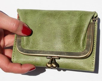 Evanna clip-frame leather wallet tan and apple inside