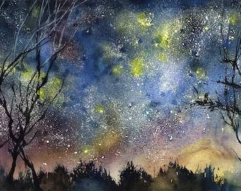 Starry night sky -  Starry night print - night sky - night sky art print - night skyline