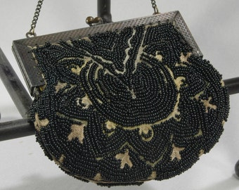 Antique Evening Bag Black Glass Beads On Ivory Silk Edwardian Clutch Kiss Lock