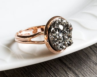 """Rose gold ring - """"Sparkly stones"""""""