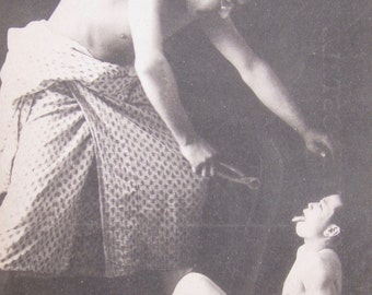 Rare 1930's Asian Japanese Trick Photo - Enormous Dentist Pulling Childs Tooth Oriental Real Photo Postcard - Free Shipping