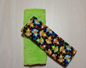 Car Seat Strap Covers - Navy w/ small monkeys