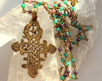 Gold Bronze Ethiopian Coptic Cross Necklace - Handmade Rosary Style Beaded Necklace 24 Inch