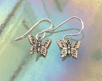 Tiny Sterling Silver Artisan Butterfly Earrings - Minimalist Silver Butterfly Earrings - Little Silver Butterflies