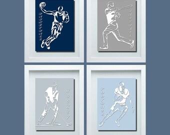 Sports Wall Decor For Boys, Sports Decor, Hockey Basketball Football  Baseball Decor, Boys