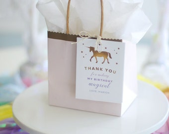 Printable Gold Unicorn favor tags - Gold stars - Pastel rainbow - Magical birthday - Thank you tags - Girl Birthday party decor - Party tags