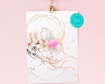 "Wall decor for girls  ""A second of whimsy "" with fabric Peony in her hair, watercolor and foil art  5""x7""  
