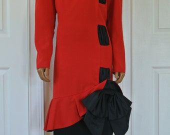 Miss Elliette Dress Red with Black 1980s Bow Cocktail Party Sheath