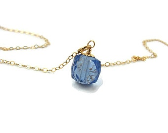 Summer blue necklace Small stone necklace Everyday necklace Dainty blue necklace Small dainty jewelry Simple stone Wife birthday gift