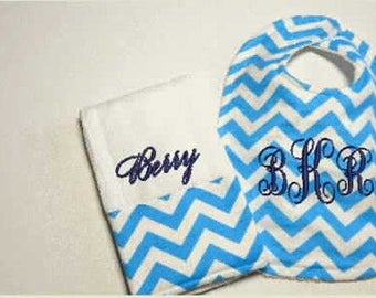 Personalized Baby Bib Burp Cloth Set, monogram bib,  baby shower gift, mother to be gift, embroidered bib, toddler bib,feeding bibs,