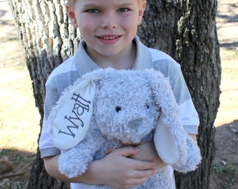 Monogrammed Easter Bunny - Stuffed Animal - Personalized Bunnies - Grey - Purple - Pink - Ivory - Blue