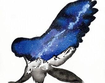 ORIGINAL Watercolour Painting - Midnight Galaxy Owl.