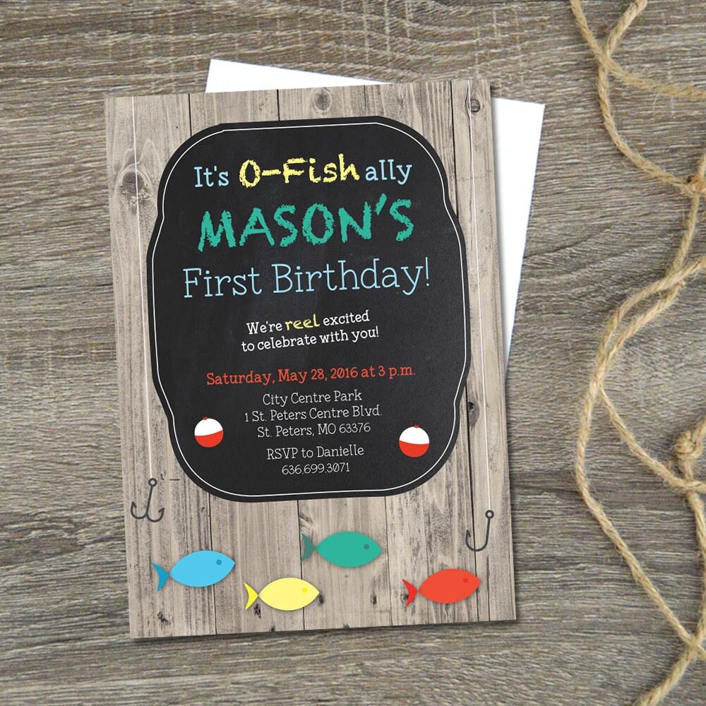 Fishing First Birthday Invitation Little Fisherman Birthday