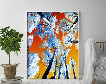 Abstract Print, Colorful Print, Printable Wall Art, Abstract Art Print, Fall Decor, Tree Photography, Instant Download Art, Abstract Decor