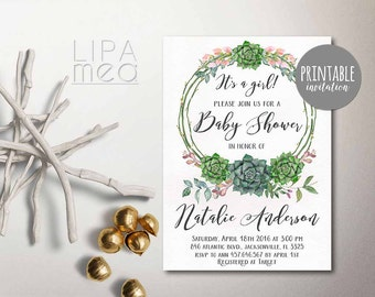 Printable Baby Shower Invitation, Floral Baby Shower Invitation, Boho Baby Shower Invite, Gender neutral Succulent Baby Shower Invitation