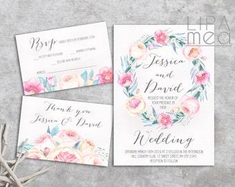Floral Wedding Invitation Summer, Boho Wedding Invitation, Printable Wedding Invitation Set Pink, Spring Wedding Invitation Suite Bohemian
