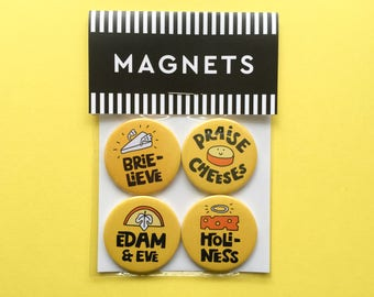 Cheese puns fridge magnets; gift packaged set of four different magnets. Stocking filler, party bag filler.