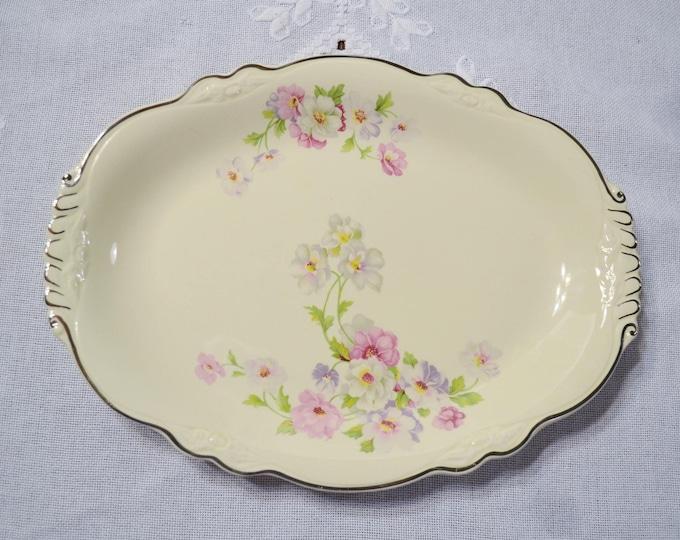 Vintage Homer Laughlin Oval Platter Virginia Rose Pink Floral Platinum Rim Shabby Cottage Decor PanchosPorch