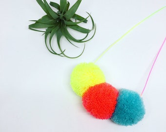 3 pom pom necklace on pastel ombre cord Neon Yellow, Neon Coral  and Sky blue combo