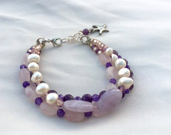 Amethyst Bracelet with Pink Rose Quartz and Freshwater Pearls, Purple Gemstone Bracelet, February Birthstone