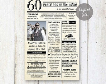 Fun facts 1957 - 60th birthday poster - Custom 60th Birthday Gift for husband dad father or parents 1957 - DIGITAL FILE!