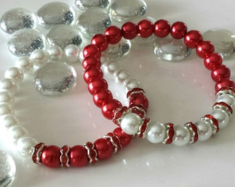 Valentines Day Gift, Bracelets, Handmade Bracelets, Beaded Bracelets,Red and White, Gift,Gifts,Birthday Gift, Gift for Her,Stretchy Bracelet