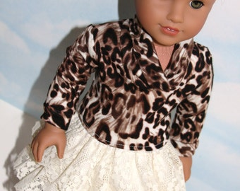 18 Inch Doll (like American Girl) Ivory Lace Ruffled Skirt and Long Sleeve, Cowl Neck, Animal Print Top