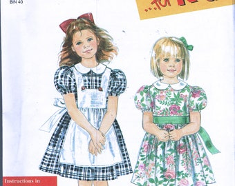 Size 3-8 Girls Easy Dress Sewing Pattern - Special Occasion Dress Pattern - Puff Sleeve Dress With Pinafore - Simplicity 7422