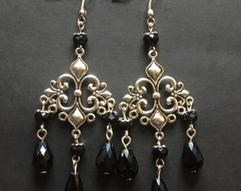 Silver Chandelier Earrings, Black Teardrop Earrings, Gift For Her, Black Crystal Earrings, Gothic Wedding Jewelry, Silver Drop Earrings.