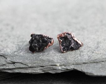 Tourmaline Earrings Crystal Posts Sterling Silver Stud Black Tourmaline Electroformed Earrings Copper Jewelry Gemstone Jewelry Natural Stone