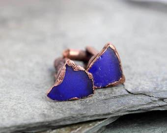 Beach Glass Cufflinks Groomsmen Gift Cobalt Blue Glass Seaglass Cufflinks Beach Wedding Electroformed Cufflinks Best Man Wedding Gift