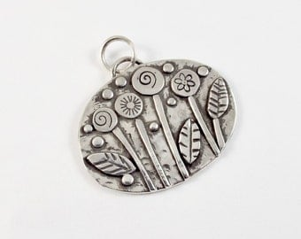 Oval Flower Garden Pendant, Sterling Silver Necklace, Blossoms and Leaves Jewelry