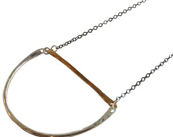 Geometric Mixed Metal Necklace; Circle Necklace; Semi Circle Necklace; Bar Necklace; Long Necklace; Pendant Necklace; Metalwork
