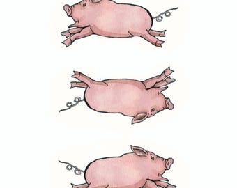 Three Pigs are Always Better Than One 8x 10 Nursery Print