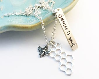 Sterling Silver ~ Science is Real ~ Save the Bees ~ Solidarity ~ March ~ Political ~ Science Trumps Silence ~ Environmentalist ~ Necklace