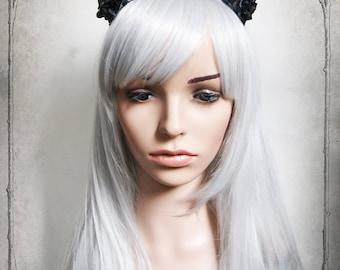 Antlers Headpiece ( deer, goth,  fantasy, steampunk, costume, fairy, roses, fascinator, vegan )
