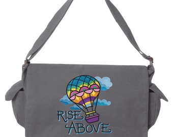 Bright Side - Rise Above Hot Air Balloon Messenger Bag Embroidered Canvas Cotton Messenger Bag