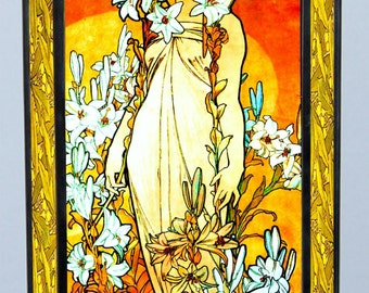 Alphonse Mucha - Lily, Stained Glass, Vacation until 18. September
