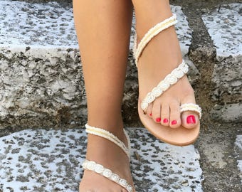 """Handmade White & Gold Lace Leather Sandals / Natural Greek Genuine Leather / Cotton lace / Ivory, White and Gold Colors / Bridal / """"Agnes"""""""