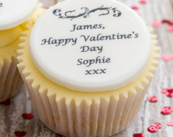 Valentine's Day Cupcake Toppers - personalised edible sugar cupcake decorations (pack of 12)
