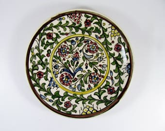 Vintage ARMENIAN Ceramic Plate, Multi-Colored Hand-Painted Floral Design, 24 cm