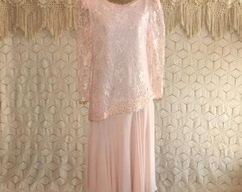 80s Dress Blush Pink Dress Chiffon Lace Long Sleeve Formal Evening Dress Mother of the Bride Romantic Midi Medium Womens Vintage Clothing