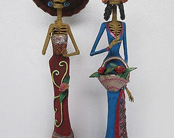 2 CATRINA SET day of the dead mexico mexican handmade folk art clay sculpture