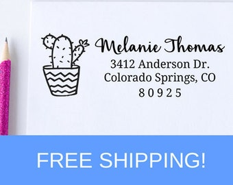 Custom Return Address Stamp, Cactus Plant Self Ink Return Address Stamp, Personalized Address Stamp, Self Ink Custom Address Stamp  (D231)