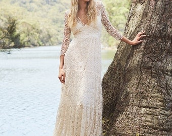 Astrid French Lace Bohemian Wedding Gown