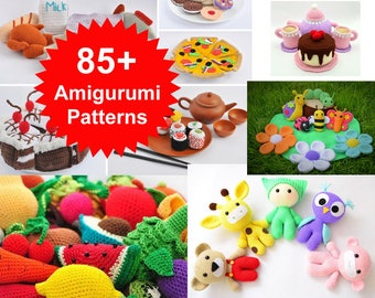 Best Deal on Etsy! Amigurumi Patterns. Over 85 Crochet Play Food Patterns, Crochet Toy Pattern, Crochet Animal Patterns, Owl, Monkey, Bear