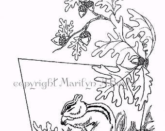 COLORING PAGE - CHIPMUNK; digital download, nature, acorns, oak leaves, from original art