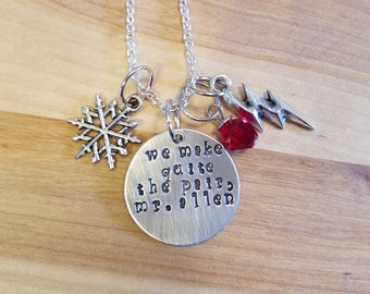 Flash-Snowbarry hand stamped necklace-Barry Allen and Caitlin Snow