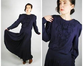 1980's does 1940's Dress - Navy Blue 40's Style Midi Dress - Size M